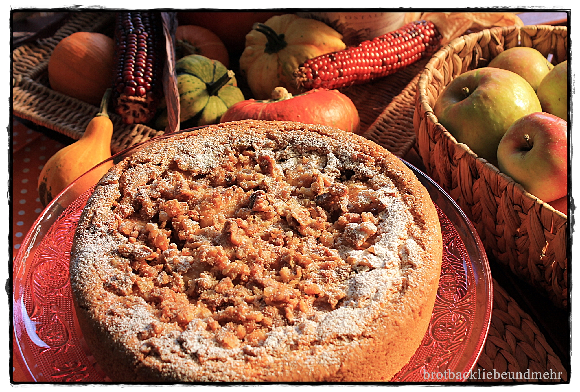 Apfelkuchen mit karamellisierten Walnüssen