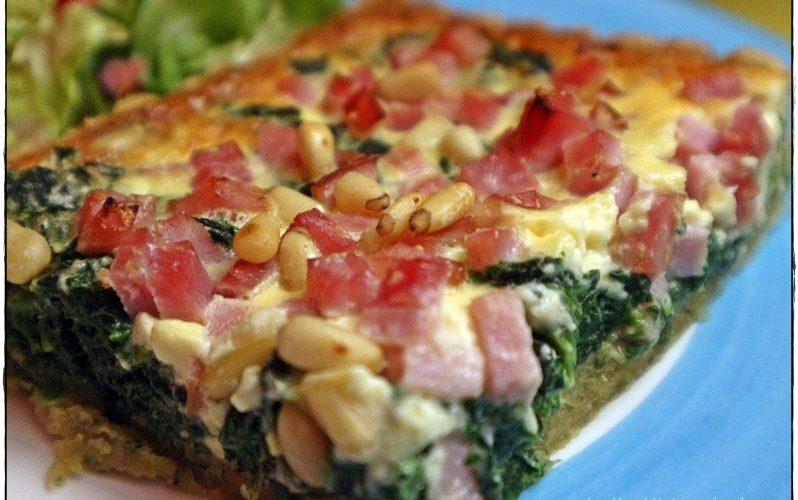 Spinat-Tarte mit Schinken