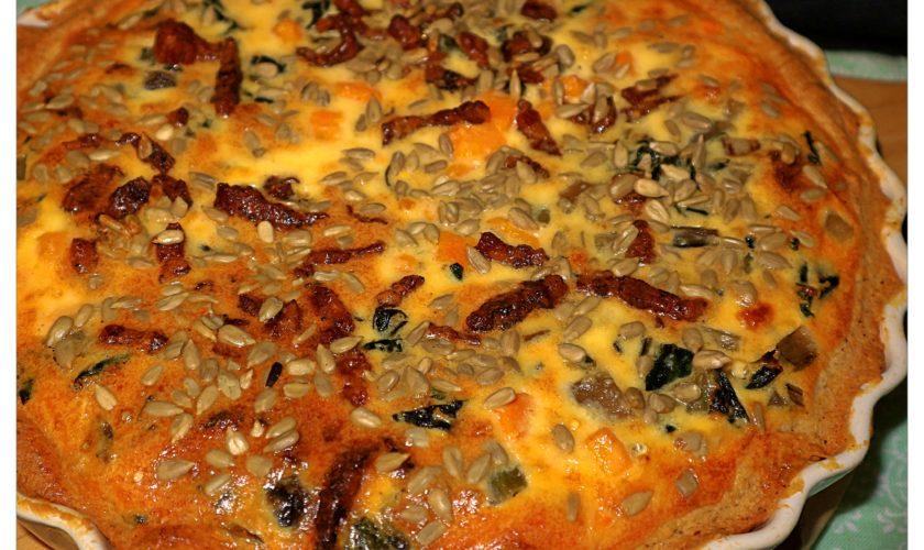 Mangold-Süßkartoffel-Quiche mit italienischem Pancetta
