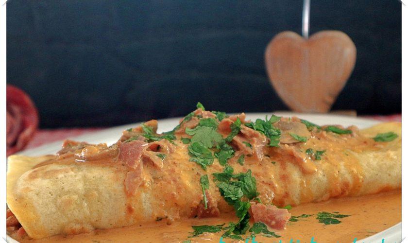 Pfannkuchen mit Champignons und Schinken