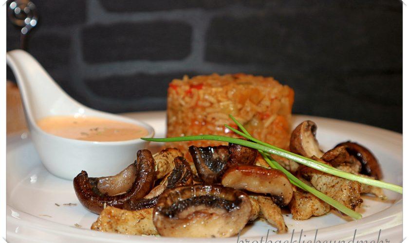 Reispfanne mit Champignons und Steakstreifen